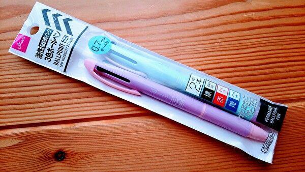 ダイソー低粘度3色ボールペン ブルー